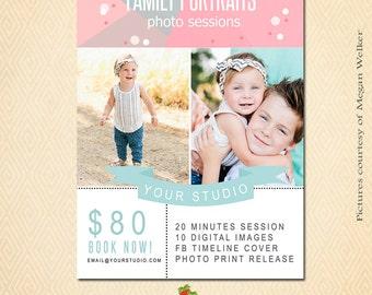 INSTANT DOWNLOAD Family Portrait Mini Session template - MA103