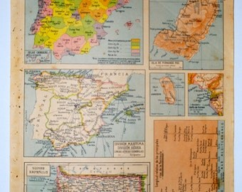 Antique Spanish map of Spain - 1940