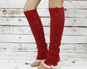 Leg warmers- red cable knit slouchy open button down lace leg warmers boot socks bithday gifts valentines day gifts