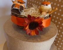 Orange Fall Rustic Bird Nest Wedding Cake Topper