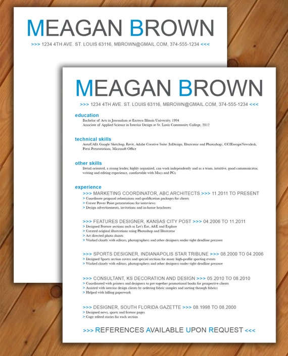 custom resume and cover letter template color arrows by