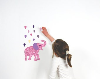 Pink Elephant Wall Decals - Elephant Fabric Wall Decals in Small