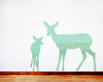 Deer Wall Decals - Deer Fabric Wall Decals Green
