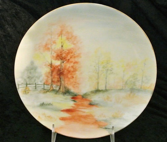 Antique Artist Signed Hand Painted Porcelain Plate 1900s Austria Austrian Woods Woodland Scene Scenic Autumn Fall Trees Leaves Cottage Decor