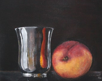 """Kitchen Still Life Original Food Painting FREE SHIPPING Silver Jar with Peach 7,87""""x7,87"""" Acrylics on canvas"""