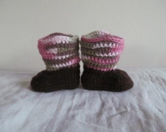 Adorable Pink Camo & Brown Hand Crocheted Baby Cowgirl Boots Size 0-3 Months - NEW DESIGN