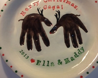 Holiday Handprint Reindeer Serving Plate