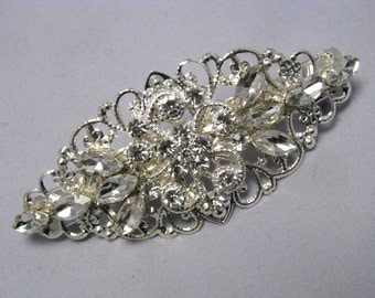 Bridal Hair Barrette, Wedding Crystal Rhinestone Barrette, Silver Filigree Vintage Style Hair Clip, Flower Girl / Bridesmaids Hair