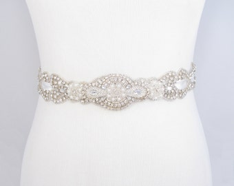 Crystal Rhinestone Pearl Bridal Belt Satin Ribbon Wedding Dress Sash Beaded