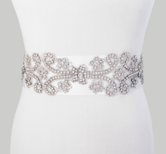 Items similar to wedding dress sash crystal rhinestone for Rhinestone sash for wedding dress