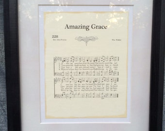 Amazing Grace Hymn Sheet Music Art on Canvas Board