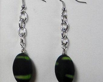 Black Earrings with Lime Green Stripe