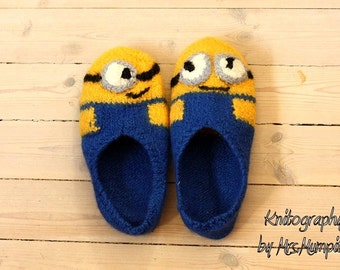 Felted Minion Slippers -  Made to order in your size, 100% virgin wool, knitted and felted, perfect gift for him or her