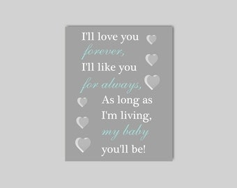 I'll Love You Forever Wall Art - Modern Nursery Quote -  Nursery Word Art - Playroom Wall Art Playroom Print CHOOSE YOUR COLORS -