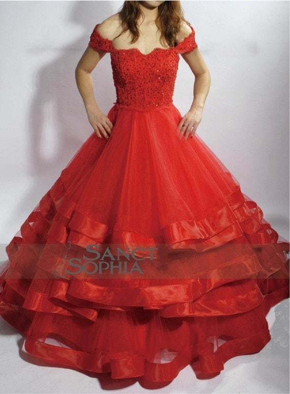 red wedding dress ball gown bridal dress sexy lace by