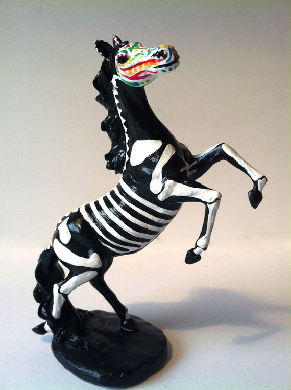 Day of the Dead Sugar Skull Horse Ceramic Sculpture dia de los muertos OOAK Pony skeleton pet memorial