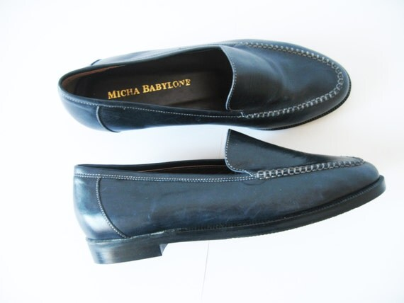navy blue leather flats loafers flat shoes eur 35 5 back to