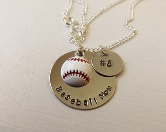 Baseball Mom Necklace with Number disc-Mother's Day Gift