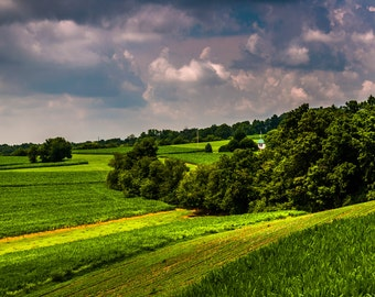 Stormy sky over rolling hills and farmland of York County - Rural Landscape Photography Fine Art Print or Wrapped Canvas Home Decor