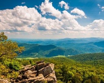 View of the Blue Ridge Mountains from a cliff in Shenandoah National Park, Virginia.  - Landscape Fine Art Print or Wrapped Canvas