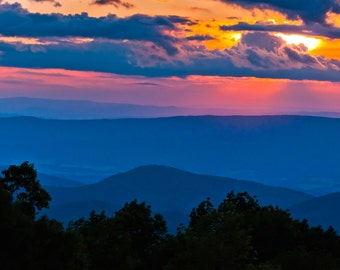 Summer sunset over the Blue Ridge Mountains in Shenandoah National Park, Virginia - Nature Photography Fine Art Print or Wrapped Canvas