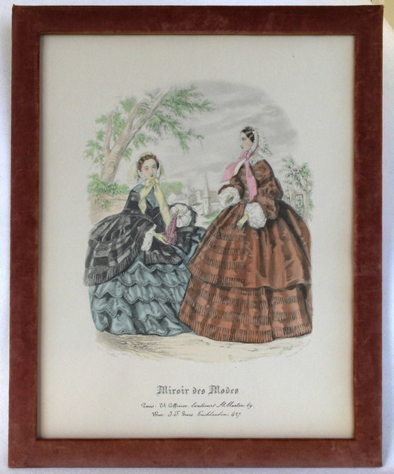 Items similar to vintage frame antique french engraving for Miroir des modes