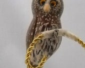 Northern Pygmy Owl Christmas Ornament, Hand Carved Wooden Clip-on