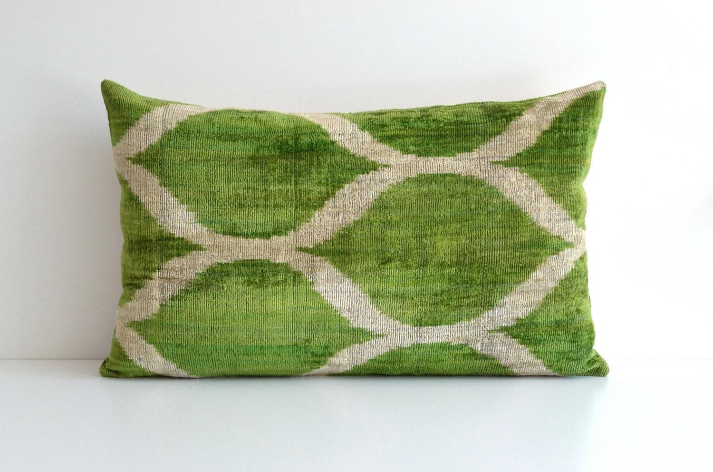 Green Velvet Pillow Ikat Pillows Couch Pillow Throw by pillowme