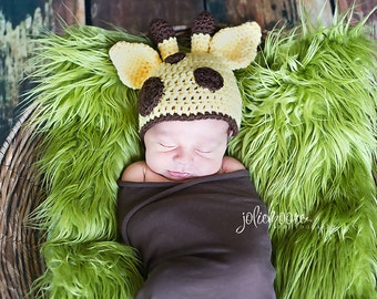 Giraffe hat - crochet baby hat - newborn photography prop - animal hat - jungle - safari