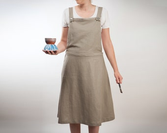 dress in linen overalls - becomes a maxi skirt with pocket (made to order)
