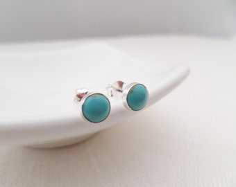 Tiny Sterling Silver and Turquoise earrings...dainty, simple and fun