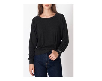 BLACK Long-Sleeve Slouch Pullover