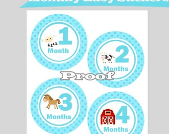 Month Tags, Bodysuit Stickers, Baby Boy Farm Animals, Monthly Bodysuit Tags, Printable File, Instant Download, Monthly Milestone Stickers
