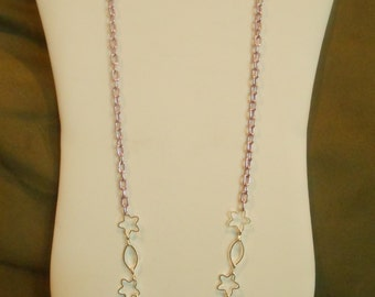 30 inch long Lavender and Silver Flower Chain Asymmetrical Necklace