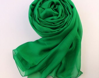Emerald Green Silk Scarf - Green Mulberry Silk Chiffon Scarf - AS11