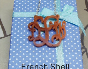 Monogram Necklace - Vine Monogram Necklace Charm 3 Initial Vine monogram (Acrylic Monogram Jewelry) Monogram Gift