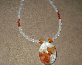 White Agate Necklace With Druzy Pendant