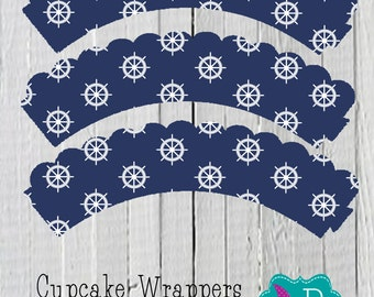 Blue  Nautical Cupcake Wrapper Printable- instant download