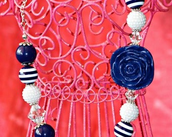 Navy and White Bubble Gum Necklace with Navy Blue Flower