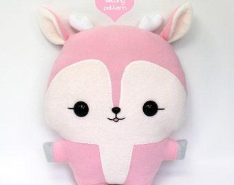 "PDF sewing pattern - Deer Reindeer stuffed animal - easy beginner cute fawn faun kawaii DIY plush toy 14"""