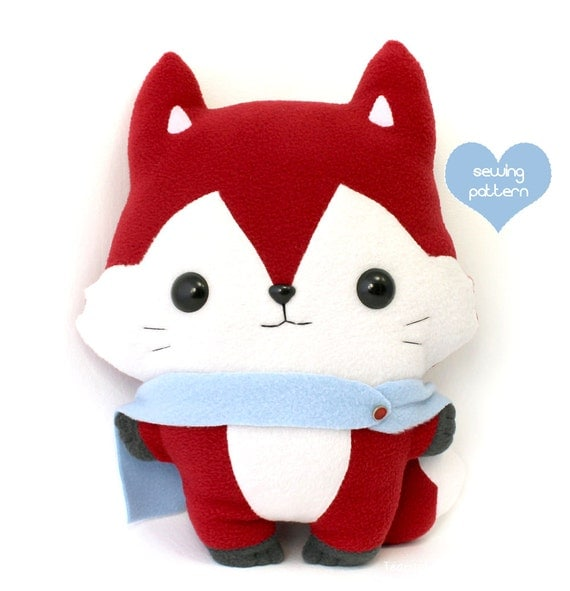 Animal Squishy Pillows : Items similar to Plushie Sewing Pattern PDF - Kitsu Fox cute soft plush toy - cuddly stuffed ...