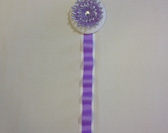 Purple and White Zebra Daisy Flower Girls Bedroom Wooden Hair Bow and Headband Holder with Purple and White Ribbon