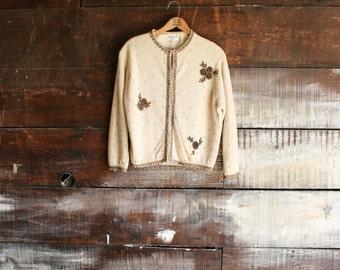60s hand-beaded tan angora cardigan