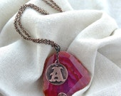 Initial necklace / personalized jewelry / Copper & red agate - Verha