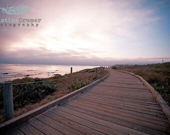 Ocean, Pacific Ocean, Boardwalk, Beach, Cambria, Sunset, California, Summer, Landscape, Photographic Print, Kristine Cramer Photography