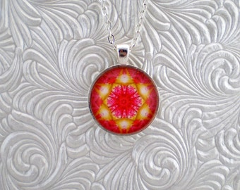Flower kaleidoscope pendant necklace, abstract pendant necklace
