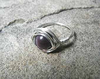 Purple Cats Eye Ring, Wire Wrapped Ring, Purple Ring, Cats Eye Jewelry, Purple Bead Ring, Silver Ring, Wire Wrapped Jewelry Handmade