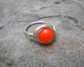 Neon Orange Jade Ring, Neon Orange Ring, Wire Wrapped Ring, Jade Stone Ring, Wire Wrapped Jewelry Handmade, Orange Stone Ring