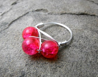 Fuchsia Pink Ring, Cluster Ring, Wire Wrapped Ring, Fuchsia Ring, Wire Wrapped Jewelry Handmade, Bead Ring, Chunky Ring