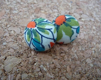 """Floral Fabric Button Earrings Fabric Orange Flowers 3/4"""""""